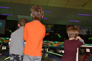 Birthday party bowling fun.